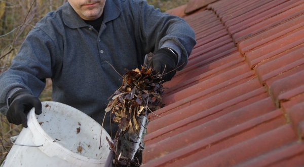 man collecting debris from gutters