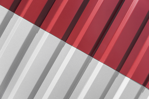 white and red metal roofing sheet
