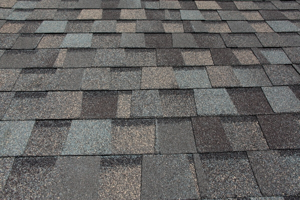 close up of grey architectural shingles