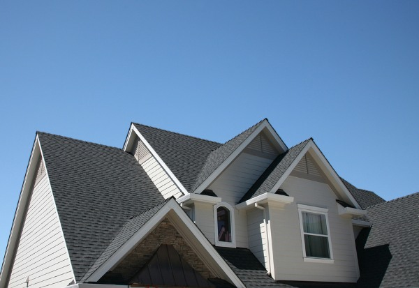 combination roof with grey asphalt shingles