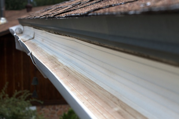 a freshly cleaned gutter system