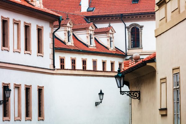 beautiful tile roofs of old white houses