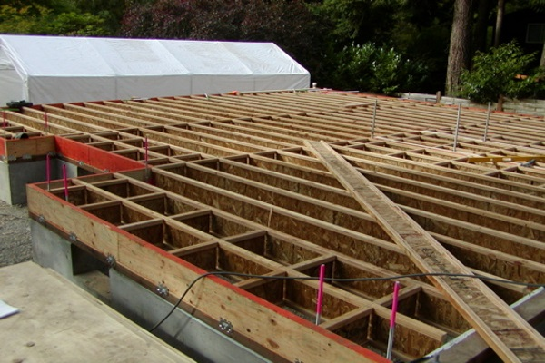 example of roofing joists under construction