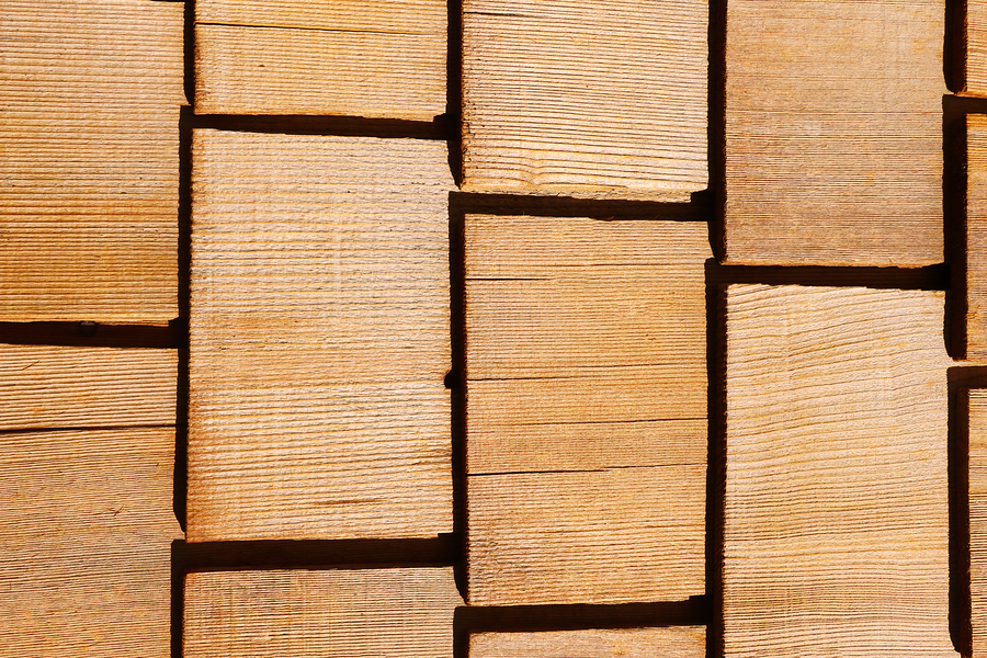 closeup of wood shingle roofing